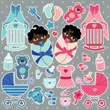 Elements for mulatto baby twins boy and girl Stock Image