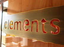 Elements. Is name of restaurant in Hotel at Pattaya in Thailand. This image was captured from name plate of restaurant Royalty Free Stock Images