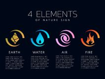 4 elements of the nature icon sign. Water, Fire, Earth, air. vector design Royalty Free Stock Photography