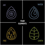 4 elements. Nature 4 elements logo sign. Water, Fire, Earth, Air on dark background Royalty Free Stock Photography