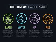 4 elements of Nature symbols with circle line border and Dashed line abstract sign. Water, Fire, Earth, air. vector design Stock Illustration