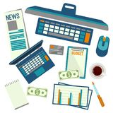 Elements necessary for making up budget plan vector illustration. Elements necessary for making up budget plan including computer with mouse, calculator and Stock Images