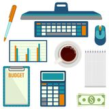 Elements necessary for making up budget plan vector illustration. Elements necessary for making up budget plan including computer with mouse, calculator and Stock Photo
