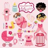 Elements for newborn girl Asian,European,mulatto Royalty Free Stock Photo