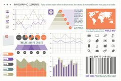 Elements nine. Infographic elements, web technology icons.  timeline option graph, clock, bar code symbol. pie chart info graphic icon. financial statistic and Stock Photo