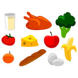 Elements of Nutritious Food Icons Stock Image