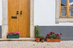 Elements of the old house in the town of Tavira. Royalty Free Stock Photo