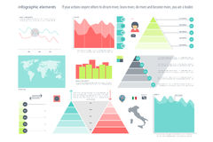 Elements one. Set of infographic elements isolated on white background.  timeline and option graph symbol. pyramid info graphic icons. financial statistic and Stock Images