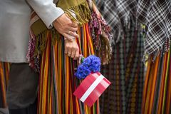 Song and dance festival in Latvia. Procession in Riga. Elements of ornaments and flowers. Latvia 100 years. Elements of ornaments and flowers. Song and dance Stock Photos