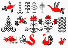 Elements of the painting Mezen. Signs painting depicting Mezen flowers,trees,fish,birds.Russian ancient folk art Royalty Free Stock Photos