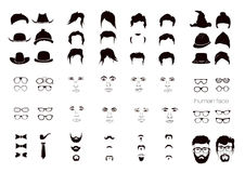 Elements of a person's face men Stock Image
