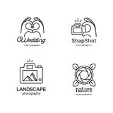 Elements for photographer logos. Emblems for camerist.  Modern line art style. Human Hands folded in the form of the heart and make photo. The landscape in the Stock Image