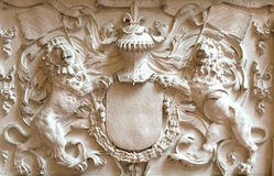 Elements of plaster molding two lions. Art elements of plaster molding two lions Stock Image