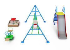 Elements of the Playground on a white background. 3d rendering vector illustration