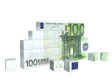 Elements of puzzle with banknote of euro Royalty Free Stock Photo