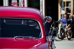Elements of a red classic car in a town on Kitsap peninsula Royalty Free Stock Images