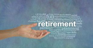 Elements of Retirement Word Tag Cloud. Female open hand gesturing towards a RETIREMENT word cloud to the right on a stone effect grunge denim blue background Royalty Free Stock Images