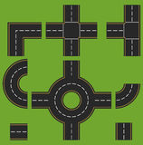 Elements of the road: turn, reversal, intersection. Vector illus. Asphalt road. Top view. Vector illustration. Set of road elements: turn, reversal, crossroad Stock Image