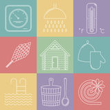 Elements of Russian banya. Sauna icons set. Vector Royalty Free Stock Images
