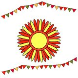 Shrovetide or Maslenitsa. Stylized sun with red and yellow rays. Elements Russian national holiday. Educational cards or greeting royalty free illustration