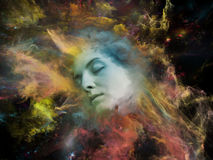 Elements of Self. Will Universe Remember Me series. Creative arrangement of human face and fractal smoke nebula as a concept metaphor on subject of human mind Royalty Free Stock Photo