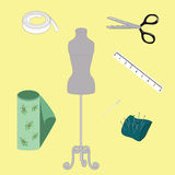 Elements of sewing design Stock Photos