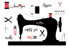 Elements for sewing isolated on white background with calligraphic lettering Stock Photography