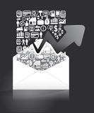 Elements are small icons business make in letter paper shape Stock Photo
