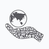 Elements are small icons charity and donation on silhouette hand royalty free illustration
