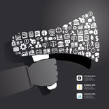 Elements are small icons Finance make in megaphone. Concept .Vector illustration Stock Images