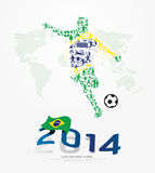 Elements Small Icons Soccer Player Shape on Flag of Brazil 2014. Stock Image