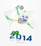 Elements Small Icons Soccer Player Shape on Flag of Brazil 2014. Stock Images