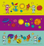 Elements solar systems drawing Royalty Free Stock Image