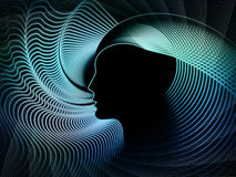 Elements of Soul Geometry. Geometry of Soul series. Composition of  profile lines of human head to serve as a supporting backdrop for projects on education Royalty Free Stock Image