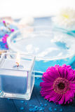 Elements spa relaxation including candles water salt bath Stock Photography