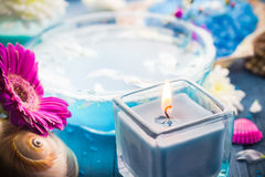 Elements spa relaxation including candles water salt bath Royalty Free Stock Photography