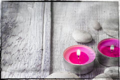 Elements spa relaxation wooden table Royalty Free Stock Photo
