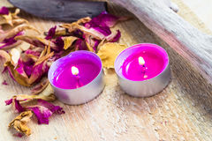 Elements spa relaxation wooden table Stock Photo
