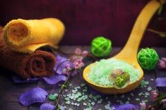 Elements spa treatments including salt bath Stock Photo