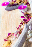 Elements spa treatments wooden table Royalty Free Stock Images