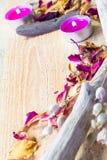 Elements spa treatments wooden table Stock Photos