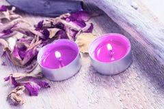 Elements spa treatments wooden table Royalty Free Stock Photos