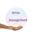 Elements of Stress Management word cloud. A hand held open with a red to blue graduated circular world cloud containing words relevant to stress management royalty free stock photography