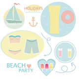 Elements of a summer holiday on the beach vector background Stock Photos