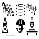 Elements and symbol of fall and rise of oil prices Royalty Free Stock Images