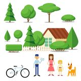 Elements to create a landscape. House, trees, people. stock illustration