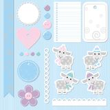 Elements to scrap with sheep. Set of elements for scrapbook vector illustration