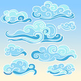 Elements of traditional oriental cloudy ornament in blue shades. Set of hand drawn elements for your design Royalty Free Stock Images
