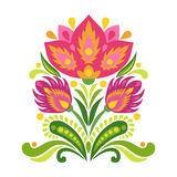 Elements of traditional Slavic ornament. Vector illustration. Bright red flower on white background Stock Image