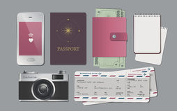 Elements travel. Objects travel with camera, smartphone, passport and boarding pass Stock Photo